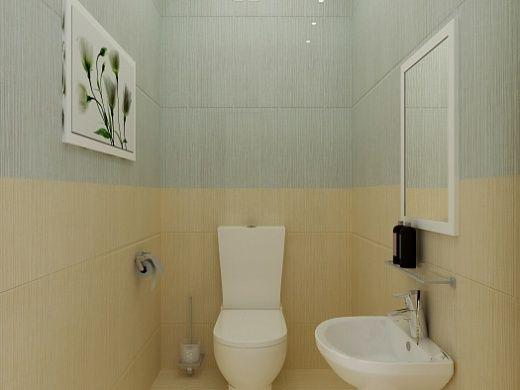 Для облицовки стен в санузле использовалась плитка двух цветов, прекрасно дополняющих друг друга, а именно серая и желтого оттенка. Плитка фарфоровая, с рельефно-структурированной матовой поверхностью, имитирующей по декору и фактуре речной камень.  В ванной комнате установлена ванна с душевой кабиной, что, несомненно, принесет удовольствие и эстетическое наслаждение.