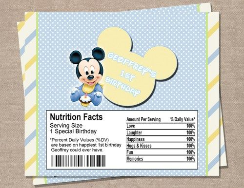 Baby Mickey Mouse 1st Birthday Candy Wrapper ...