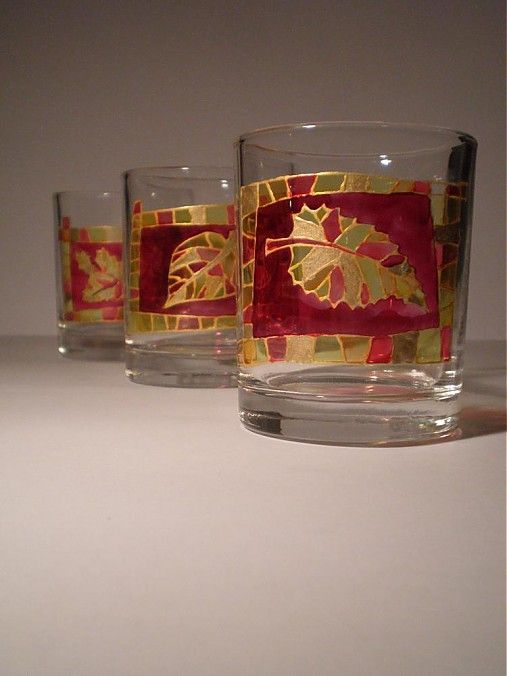 Helga - maľované poháre - Jesenné 3 by MilanKalmar - SAShE.sk - Handmade Do kuchyne