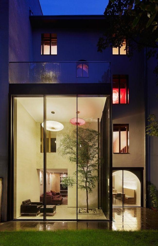 Fassade glas haus  Glasfassade hakkında Pinterest'teki en iyi 20+ fikir   Kaminfeuer ...
