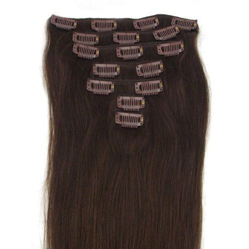 Nr. 2 Dunkelbraun Clip In Extensions Set 100% Echthaar 8 teilig 100g Haarverl�ngerung 50 cm Clip-In Hair Extension