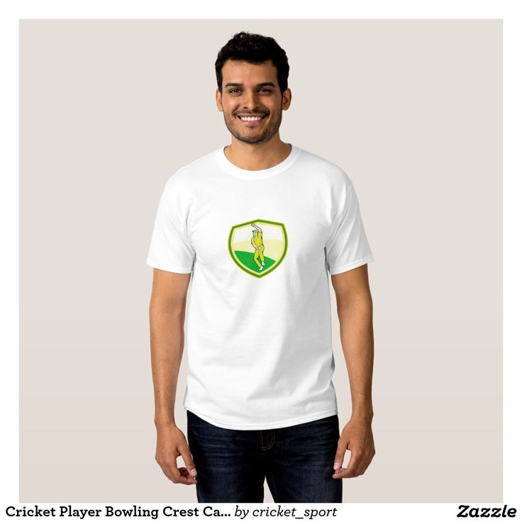 Cricket Player Bowling Crest Cartoon T-shirt. Cricket World Cup men's t-shirt with an illustration of a cricket player fast bowler bowling with cricket ball set inside shield crest viewed from front done in cartoon style. #cricket #cricketworldcup #t20worldcup #worldtwenty20 #t20worldcup2016