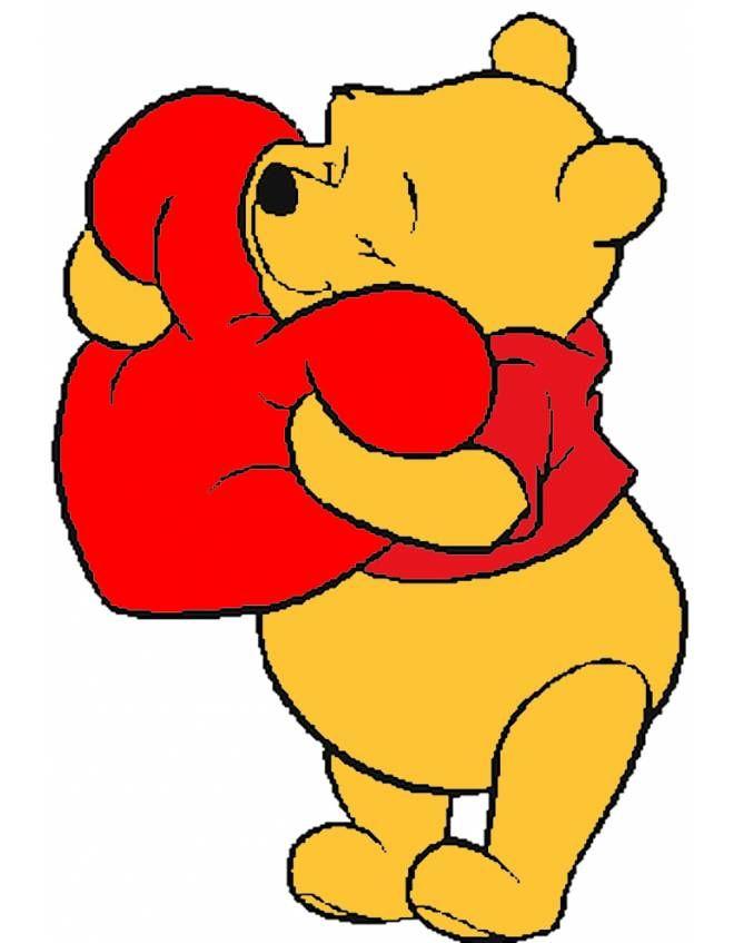 Disegno: Winnie Pooh con il Cuore. Disegni colorati per bambini da stampare gratis. Puoi stampare, scaricare il disegno o guardare gli altri disegni simili a questo. disegnidacolorareonline.com.