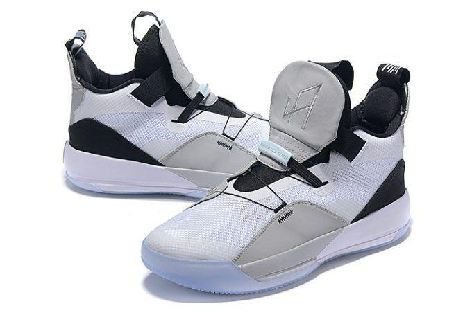 121f37ec011 Air Jordan 33 White Grey Black Mens Basketball Shoes-3