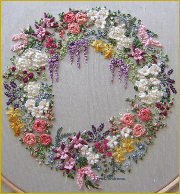 Ribbon embroidery wreath by lorna bateman exquisite