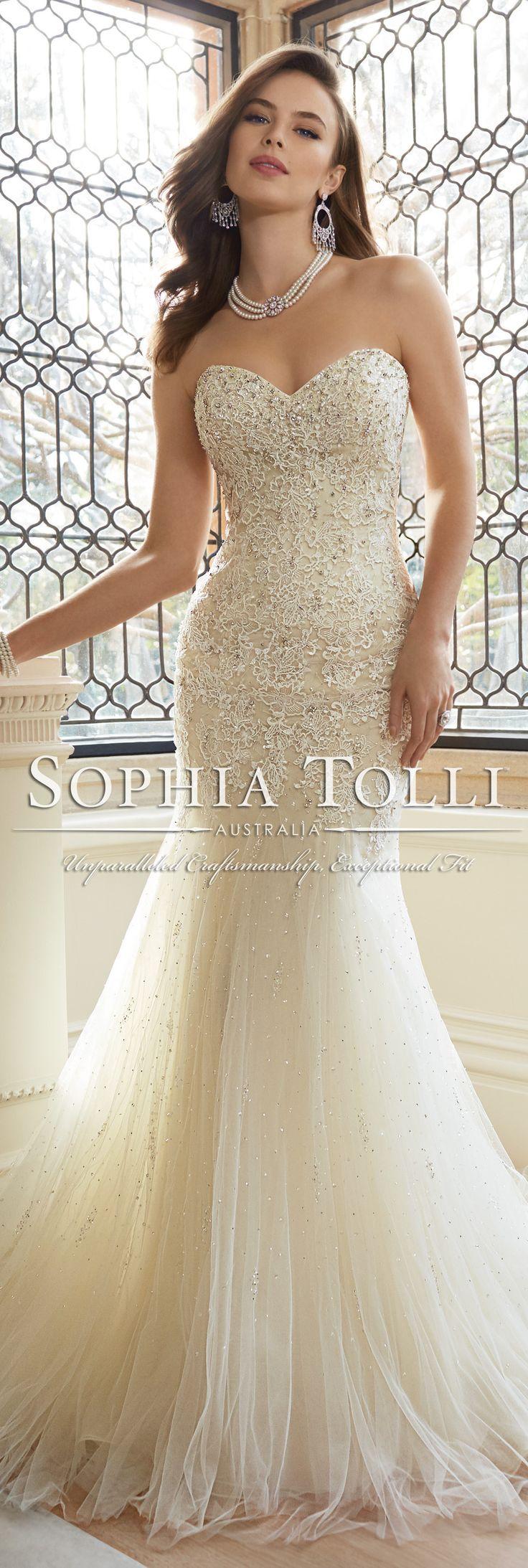 The Sophia Tolli Spring 2016 Wedding Dress Collection - Style No. Y11625 - Amira #laceweddingdress @moncheribridals