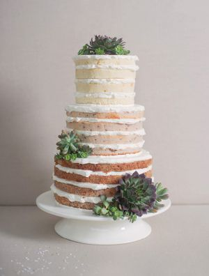 Naked Wedding Cake with succulents - perfect for a summer rustic wedding  Find more wedding inspiration #fromthomas – on Pinterest and http://instagram.com/thomasjewellers/ #thomasjewellers #ilovethomas