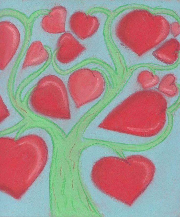 дерево любви.  рисунок, сердце,дерево