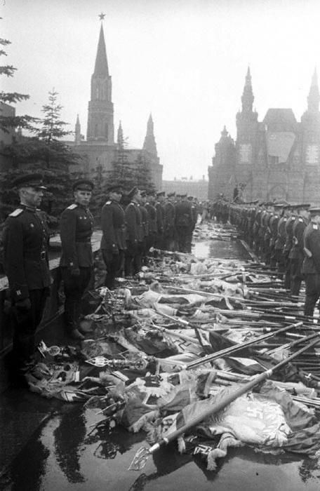 German flags thrown to the ground in the Red Square during the Victory Parade