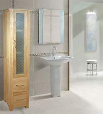 NARA solid oak bathroom FURNITURE storage cabinet UNIT