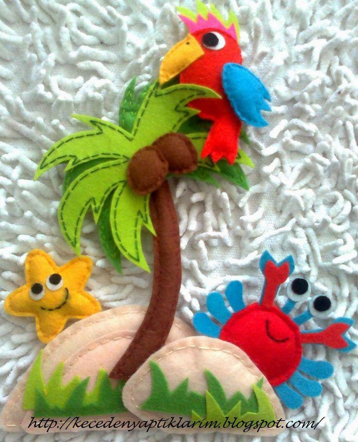 Keçe Palmiye Yengeç Deniz Yıldızı Papagan ve Surf Figürleri ile Hazırladıgım Erkek Çocuk Kapı Süsü       Keçe Surf ve Çocuk Figürleri ...