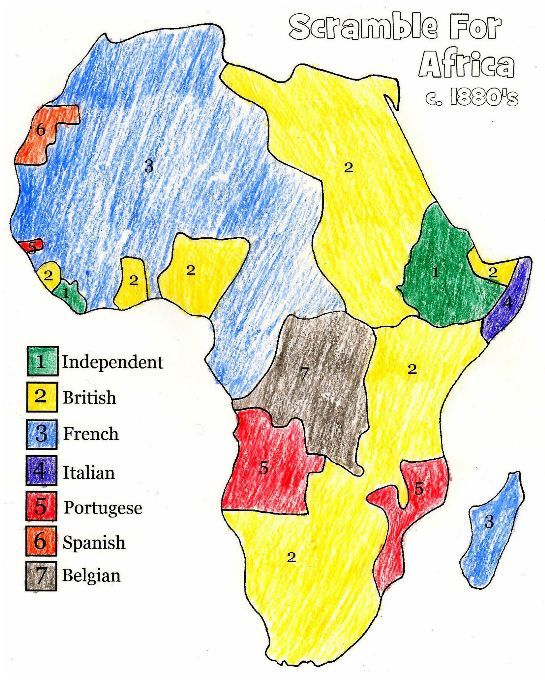 european colonization of africa map the scramble for africa layers of learning free. Black Bedroom Furniture Sets. Home Design Ideas