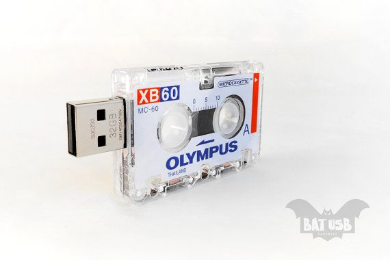 Cassette usb flash drive 8/16/32/64GB  Mini journalist Olympus by BatLab...Do you remember how we could rewind a cassette tape?