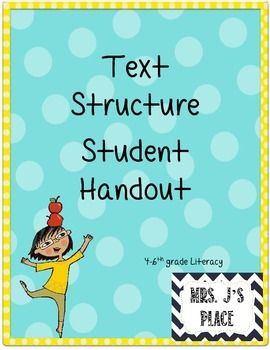 This is a great handout to give to students as a study guide for text structure.Each handout contains:- type of text structure - definition- signal words- visual graphic organizer