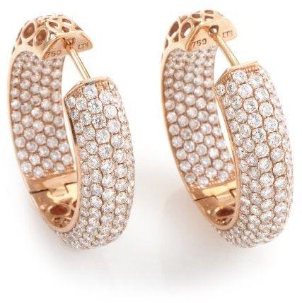 18K Rose Gold Diamond Pave Hoop Earrings