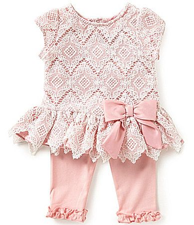 Rare Editions Baby Girls 324 Months DiamondPatterned Lace Dress and Leggings Set #Dillards