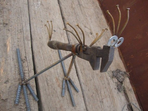 Recycled Garden art Antique Pipe Wrench Bird by Junkfx  by Junkfx, $50.00