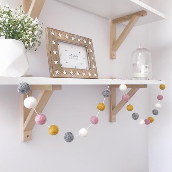 Tassel Pom pom garland Nursery decor kids bedroom wedding decor baby shower
