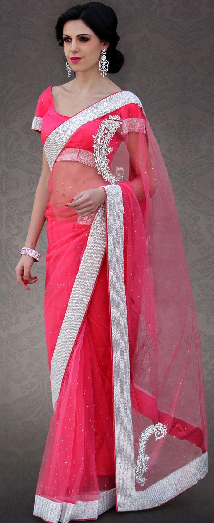 Latest Fuchsia #Net #Saree Blouse #Design | @ $270.54