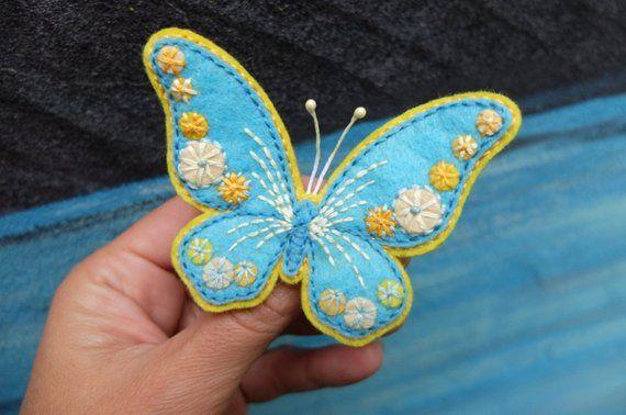 Butterfly brooch,Hand Embroidery,Felt brooch,Handmade jewelry,Felt Art,Blue Yellow Butterfly,Wedding yellow jewelryFelt EmbroideryFelt ButterflyWedding Butterfly broochHandmade broochHand ArtBlue
