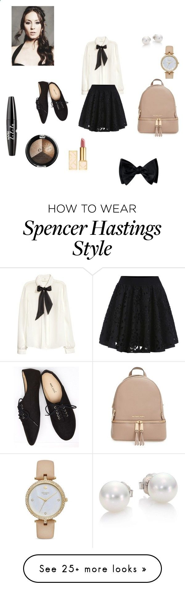 PLL School Looks Spencer Hastings #3 by shannonyehl on Polyvore featuring H&M, Wet Seal, Mikimoto, Kate Spade, NYX, Tory Burch, MICHAEL Michael Kors and pll