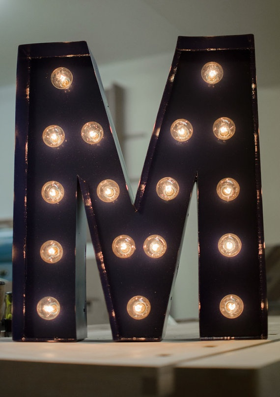 vintage inspired marquee light letter m by on etsy choose a color that - Marquee Letter Lights