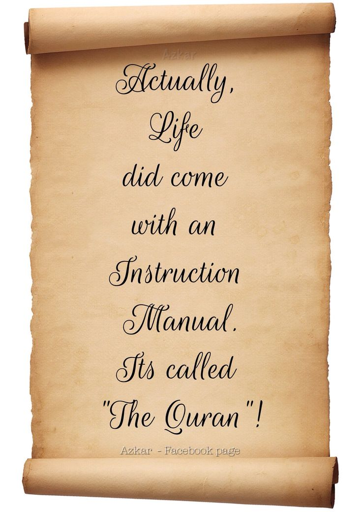"Actually, Life did come with an Instruction Manual. Its called ""The Quran""!: Islam Islam, Islam Quran, Religious Quotes, الإسلام أدعية Hadith, أحاديث الإسلام, Seeking Knowledge, Islamic Matters"