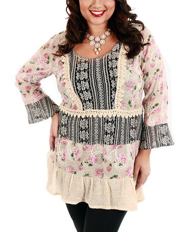 CrazyRomantic.com loves this! Another great find on #zulily! Black & Pink Garden Patchwork Tunic - Plus by Lily #zulilyfinds