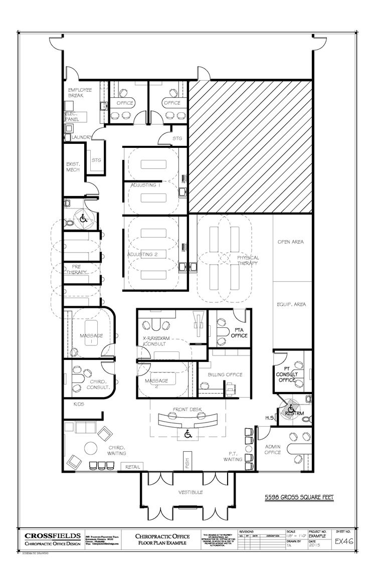 Floorplan for chiropractor office with x ray and massage rooms 5598