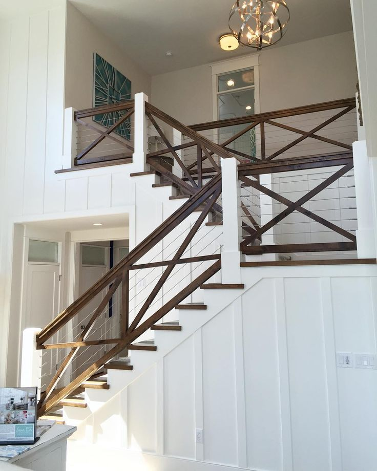 Such a cool hand railing!  I love how they used the cables to keep the code but it has such a graphic look.  #homeshow #throwback home by @millhavenhomes by remodelaholic