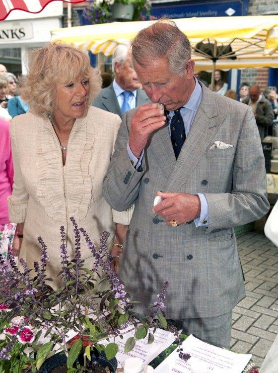 Prins Charles en de Hertogin van Cornwall op Het Eiland Wight Markt Farmers '.
