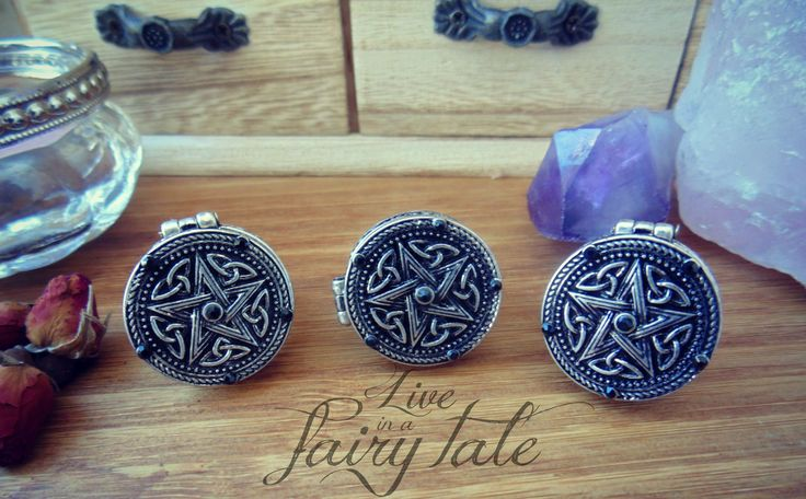 """Brings poison with pentacle by """"Live in a fairy tale""""  #bringpoison #witchbringpoison #paganlocketring #pentaclering #witchring #paganring #liveinafairytale"""
