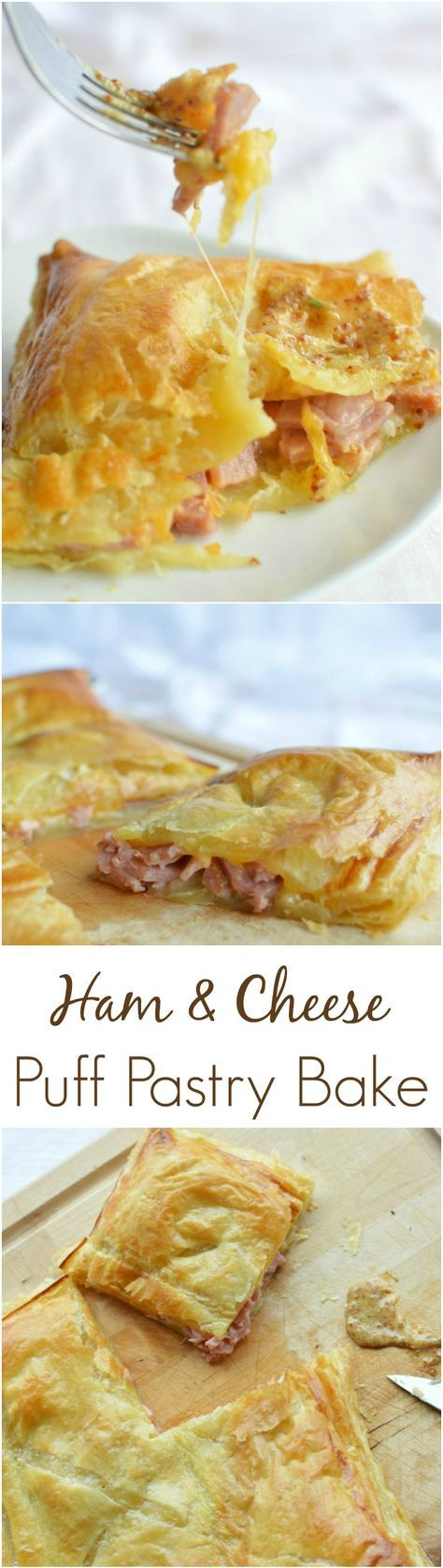 This Ham and Cheese Puff Pastry Bake is the perfect way to use your leftover ham. Ham, cheese, pastry and a delicious mustard dipping sauce!