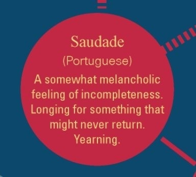 Saudade.....One of my favorite words ever.  Why do we not have a word for this in English??? ❤