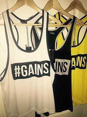Gym stringer gains #slogan vest bodybuilding gym #contrast trim #golds gym vest,  View more on the LINK: http://www.zeppy.io/product/gb/2/301851744535/