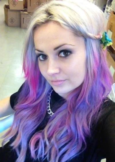 Blonde hair with purple streaks