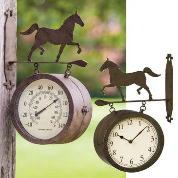 Trotting Horse Two-Sided Clock and Thermometer
