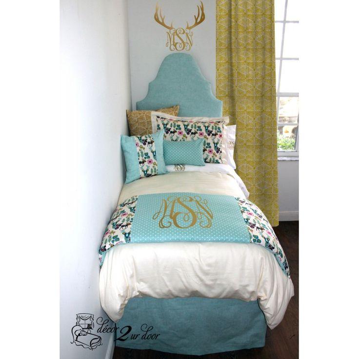 light blue gold and multicolor deer wonderlands dorm teen designer bedding set available in. Black Bedroom Furniture Sets. Home Design Ideas