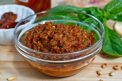 Sun Dried Tomato Pesto. Good basic recipe! I substituted dried basil, skipped the nuts, and added garlic and olive oil to taste. Yummy!