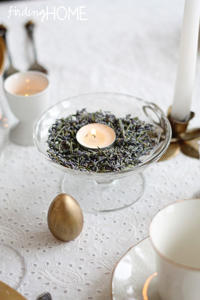 Add a votive candle to a dish of lavender for a fragrant and beautiful display!