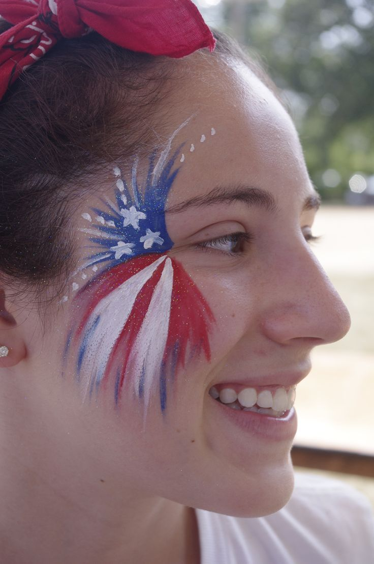 Patriotic Fourth of July American Flag Fireworks Face Painting