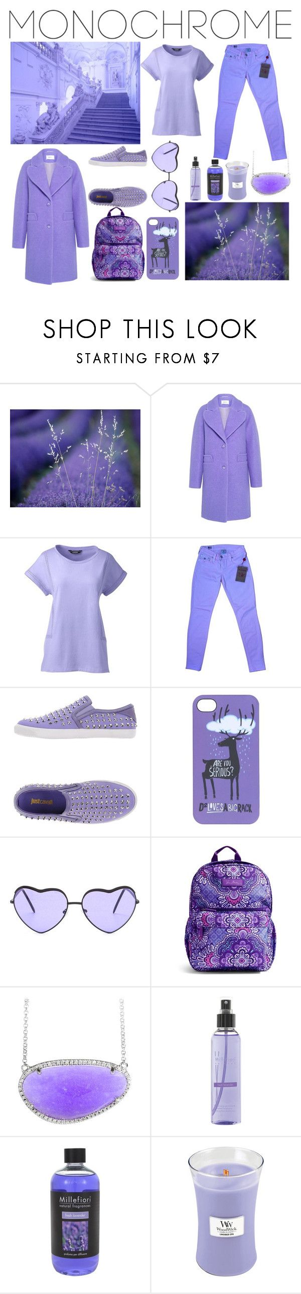 """""""Monochrome. Lavender."""" by lynnbain ❤ liked on Polyvore featuring Carven, Lands' End, True Religion, Just Cavalli, Dsquared2, Vera Bradley, Millefiori, WoodWick, monochrome and purple"""