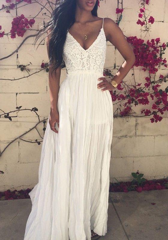 White Crochet Lace Condole Belt Backless Splicing Draped V-neck Wedding Maxi Dress