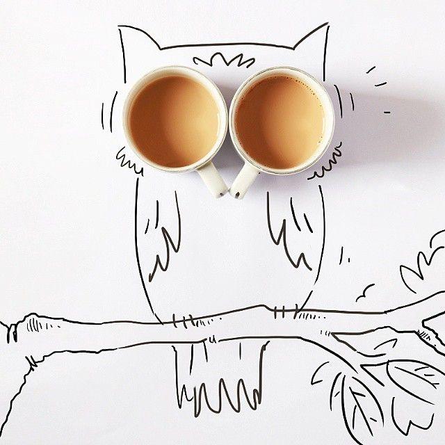 Good morning to Owl you people!  #illustration #art #cartoon #doodle #instadoodle #doodling #dhaka #drawing #realvscartoon #toonsinrealworld #morning #owl #tea #concept #maniknratan