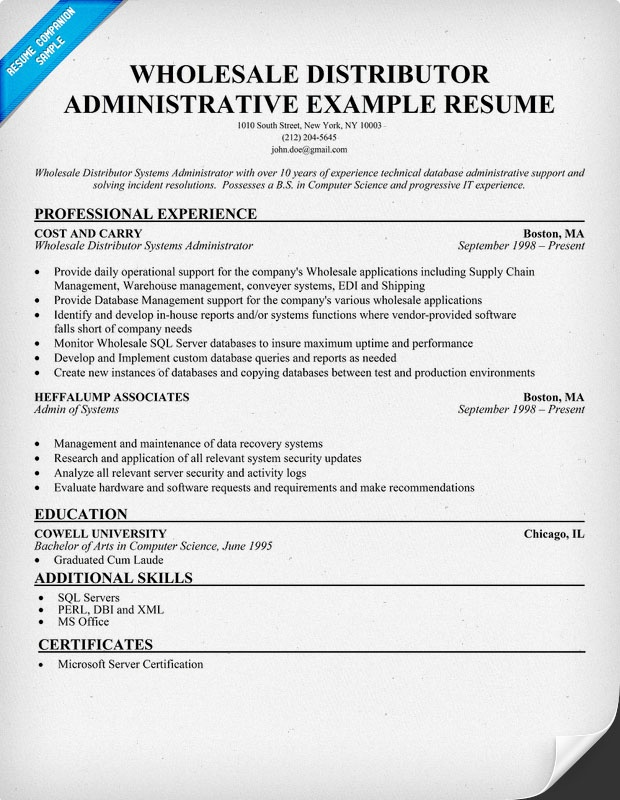 wholesale distributor administrative assistant free resume help  resumecompanion com