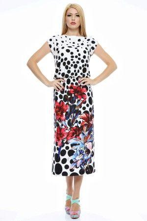 Rochie lunga imprimata cu elastice in talie.
