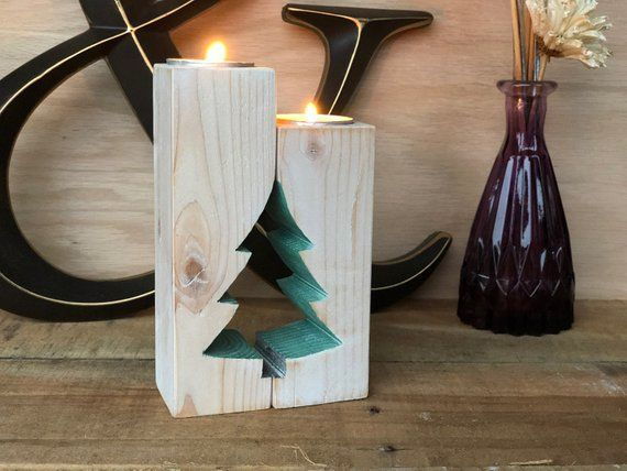 Christmas Candle Holder – Rustic Candlestick   Farmhouse Antique Mantel Decor …