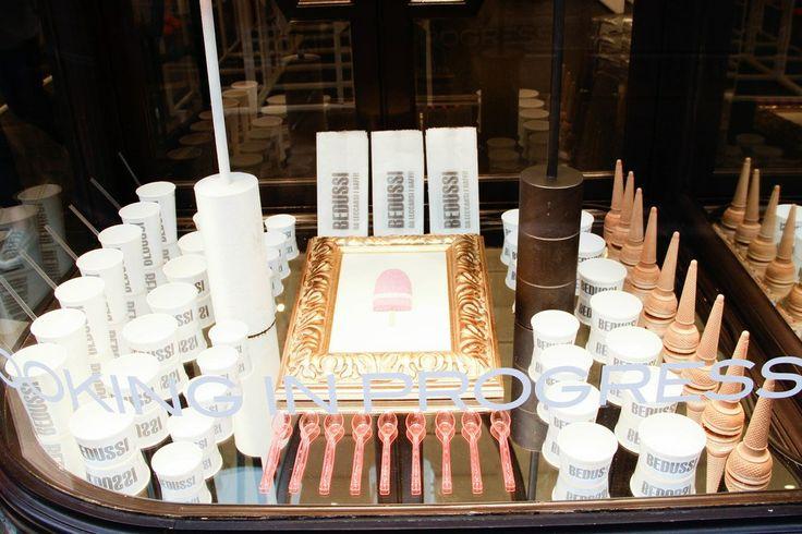 #Showcooking Cooking in Progress May 27th w/ Gelateria Bedussi at G&B Negozio Progress  Shop window: Silvia Naddeo ice cream mosaic sculpture  gbprogress.com