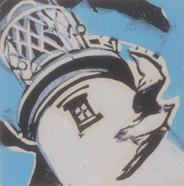 South wold Lantern - Lino cut - by Lesley Brooks