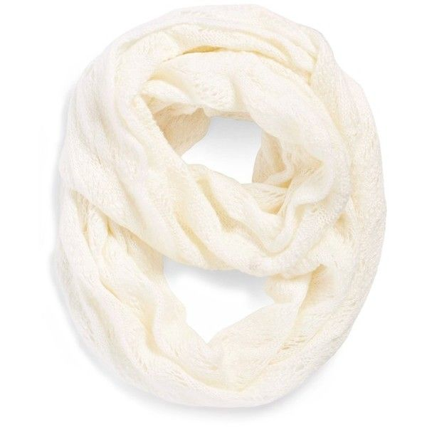Echo Pointelle Infinity Scarf found on Polyvore featuring accessories, scarves, snow white, round scarves, metallic shawl, circle scarves, infinity loop scarves and circle scarf
